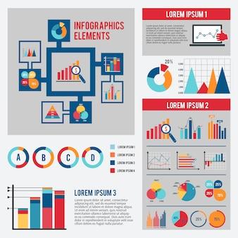 Conjunto de modelo de infográfico de gráfico de negócios