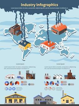 Conjunto de modelo de infográfico de indústria