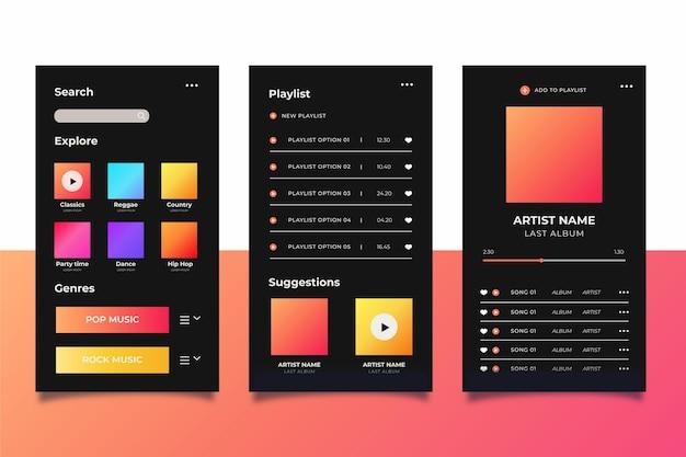Conjunto de modelo de interface de aplicação de leitor de música