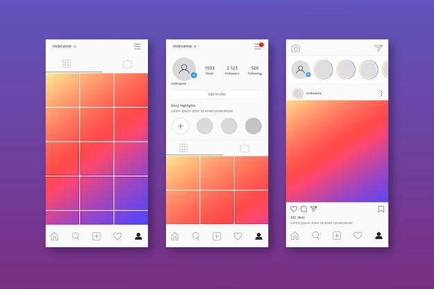 Conjunto de modelo de interface de perfil do instagram