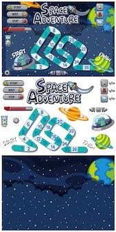Conjunto de modelo de jogo com estrelas e alienígenas à noite