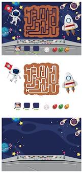Conjunto de modelo de jogo com nave espacial e astronauta