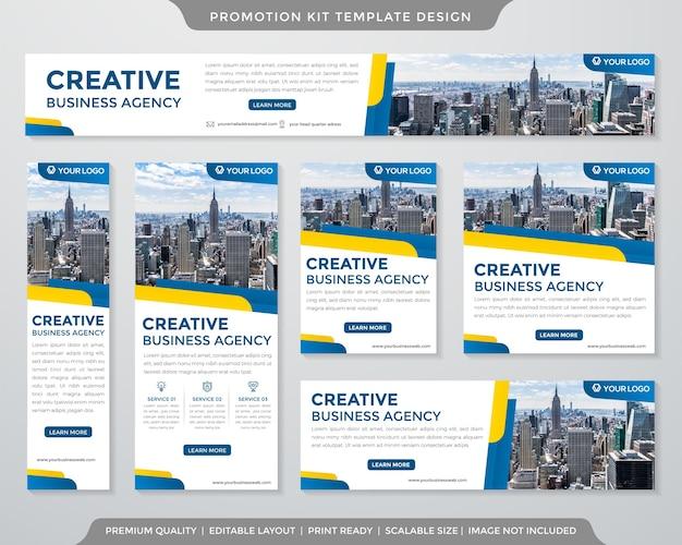 Conjunto de modelo de kit de promoção de negócios estilo premium