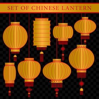 Conjunto de modelo de lanterna tradicional chinesa com conceito realista