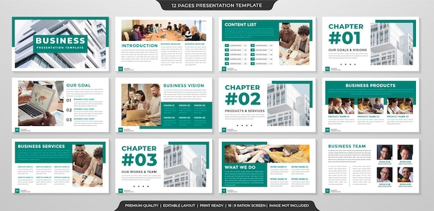 Conjunto de modelo de layout de apresentação com estilo minimalista e conceito moderno de uso para perfil de negócios e relatório anual