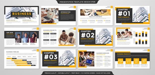 Conjunto de modelo de layout de apresentação de negócios estilo premium