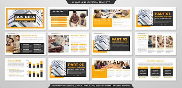 Conjunto de modelo de layout de powerpoint de negócios estilo premium