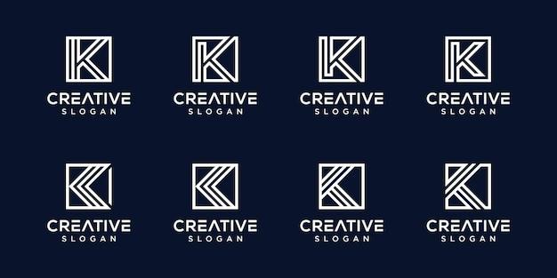 Conjunto de modelo de letra k de logotipo de monograma criativo