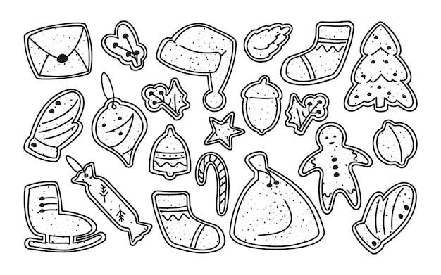Conjunto de modelo de linha de natal de biscoitos de gengibre. sobremesa de inverno. guloseima tradicional, vidrados decorados