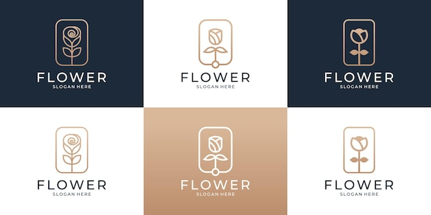 Conjunto de modelo de logotipo abstrato de flor rosa