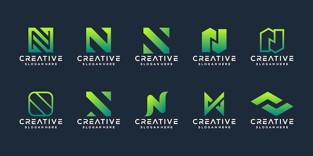 Conjunto de modelo de logotipo abstrato de letra n inicial