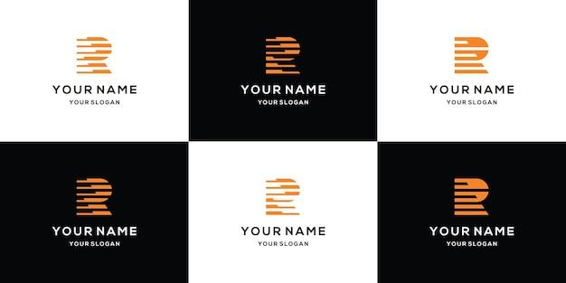 Conjunto de modelo de logotipo abstrato de letra r inicial