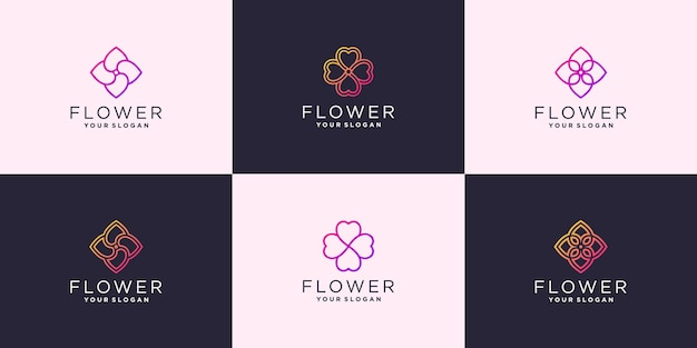 Conjunto de modelo de logotipo abstrato flor rosa com cores exclusivas premium vector