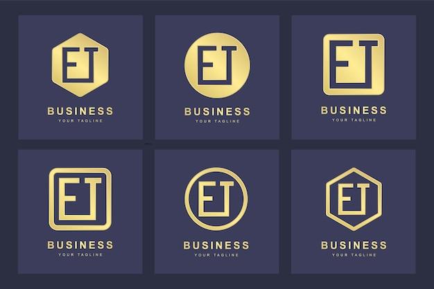 Conjunto de modelo de logotipo abstrato inicial et et.