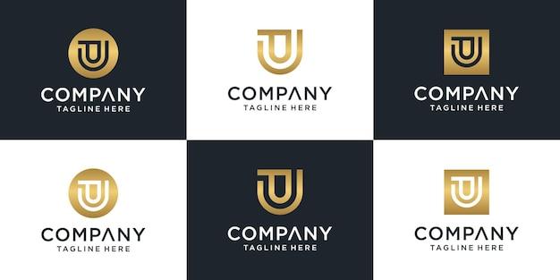 Conjunto de modelo de logotipo abstrato inicial letra pu. para negócios de moda, consultoria, construção, simples.