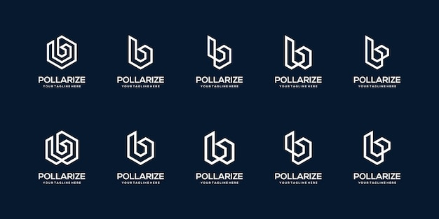 Conjunto de modelo de logotipo abstrato letra b inicial. ícones para negócios de construção, construção