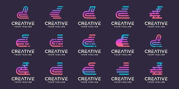 Conjunto de modelo de logotipo abstrato letra d inicial.