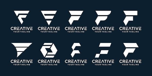 Conjunto de modelo de logotipo abstrato letra f inicial.