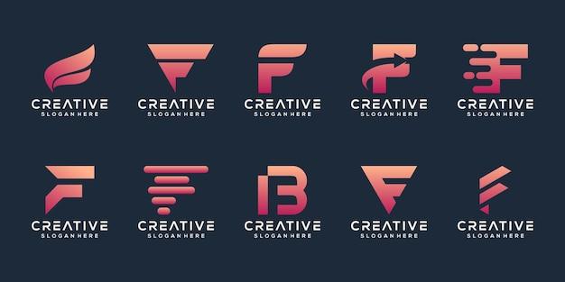 Conjunto de modelo de logotipo abstrato letra f inicial