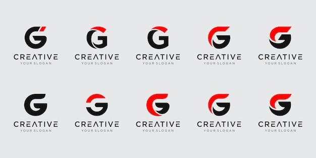 Conjunto de modelo de logotipo abstrato letra g inicial.