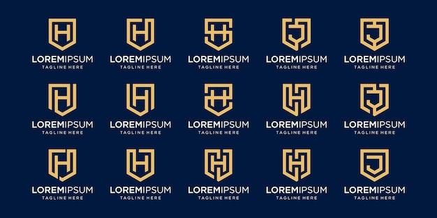 Conjunto de modelo de logotipo abstrato letra h inicial.
