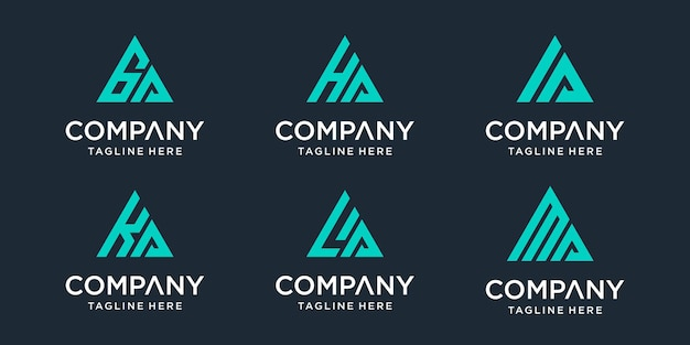 Conjunto de modelo de logotipo abstrato letra inicial ga, ha, ia, ka, la, ma