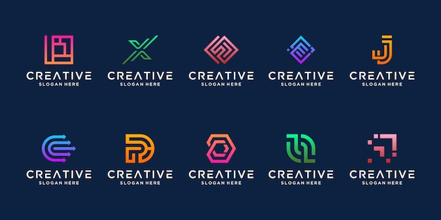 Conjunto de modelo de logotipo abstrato letra inicial monograma. ícones para negócios de moderno, elegante e simples.