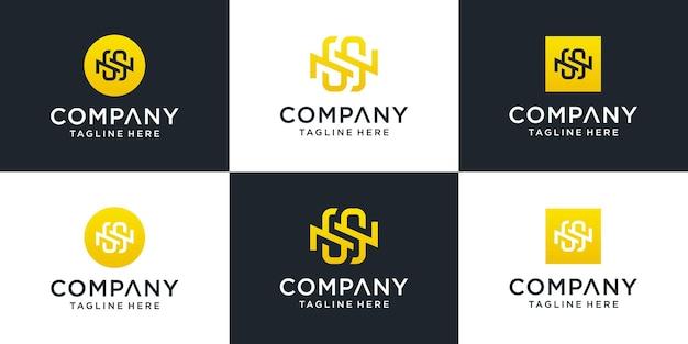 Conjunto de modelo de logotipo abstrato letra inicial ns. para negócios de moda, consultoria, construção, simples.