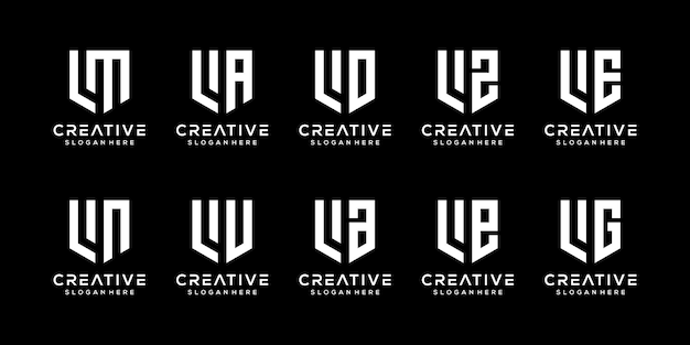 Conjunto de modelo de logotipo abstrato letra l inicial.
