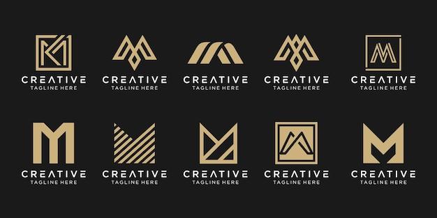 Conjunto de modelo de logotipo abstrato letra m inicial.