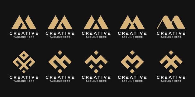 Conjunto de modelo de logotipo abstrato letra m