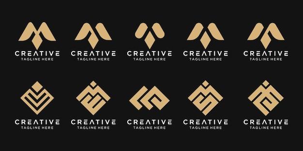 Conjunto de modelo de logotipo abstrato letra m.