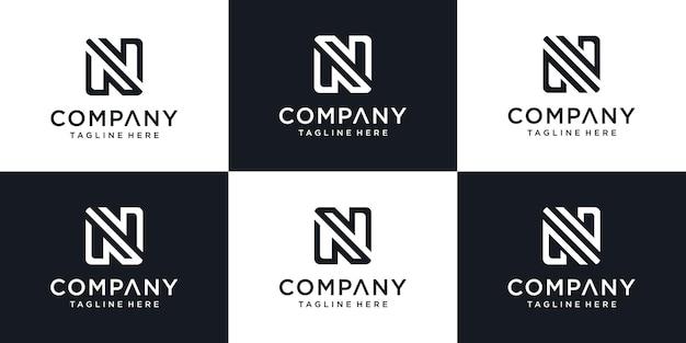 Conjunto de modelo de logotipo abstrato letra n inicial. ícones de monograma