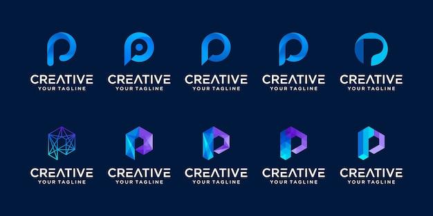 Conjunto de modelo de logotipo abstrato letra p inicial. ícones para negócios de moda, digital, tecnologia,