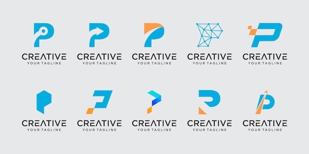 Conjunto de modelo de logotipo abstrato letra p inicial.