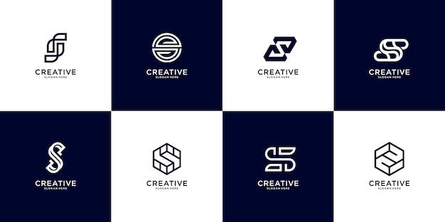 Conjunto de modelo de logotipo abstrato letra s inicial. ícones para negócios de luxo, elegantes e simples.