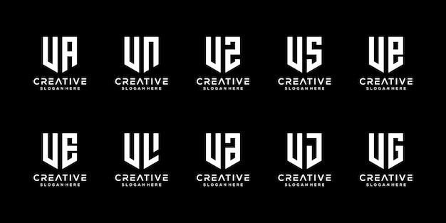 Conjunto de modelo de logotipo abstrato letra v inicial.