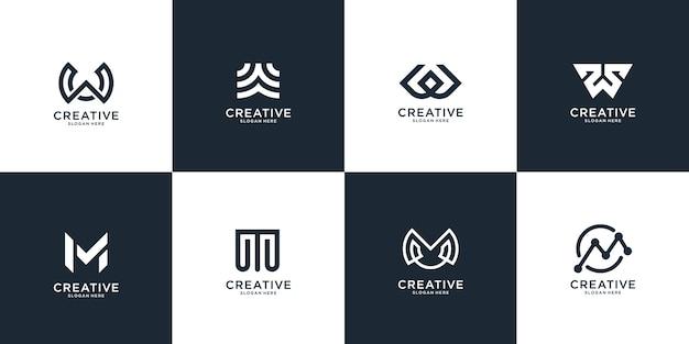 Conjunto de modelo de logotipo abstrato letra w e letra m inicial. ícones para negócios de luxo, elegantes e simples.