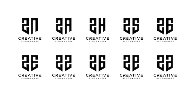 Conjunto de modelo de logotipo abstrato letra z inicial.