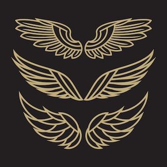 Conjunto de modelo de logotipo bird eagle e wing