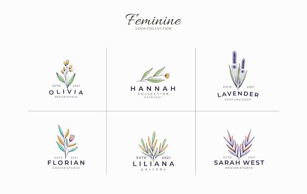 Conjunto de modelo de logotipo botânico feminino minimalista e bonito