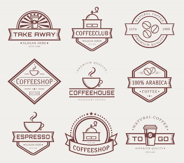 Conjunto de modelo de logotipo café vector