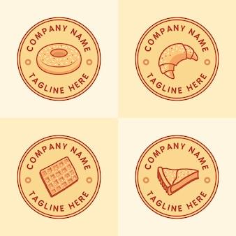 Conjunto de modelo de logotipo clássico de pastelaria ou padaria com o emblema do círculo em fundo marrom claro