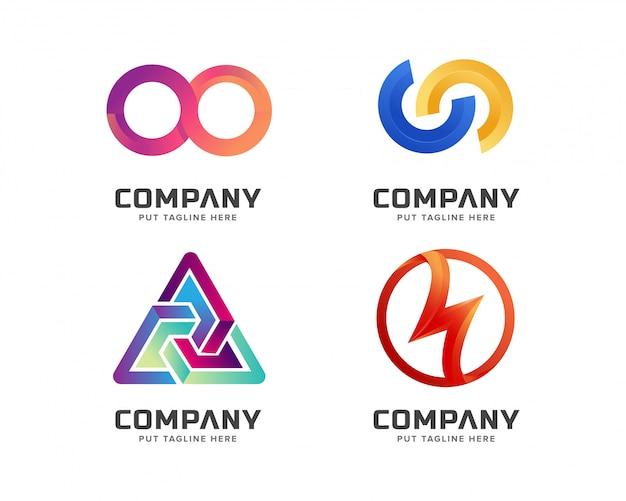 Conjunto de modelo de logotipo colorido abstrato de negócios