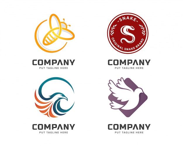 Conjunto de modelo de logotipo colorido animal de negócios