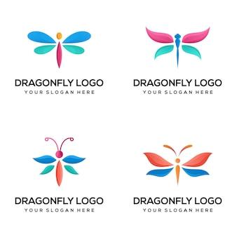 Conjunto de modelo de logotipo colorido de libélula