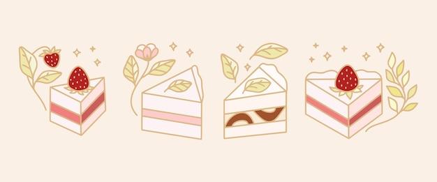 Conjunto de modelo de logotipo colorido de pastelaria, bolo e padaria