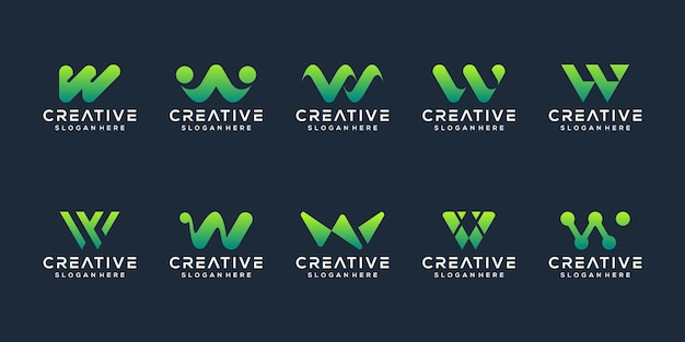Conjunto de modelo de logotipo com letra inicial abstrata