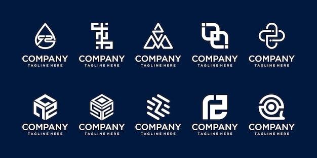 Conjunto de modelo de logotipo com letra z inicial