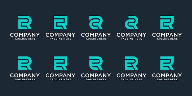 Conjunto de modelo de logotipo cr e er de letra monograma criativo. o logotipo pode ser usado para empresas e empresas de construção.